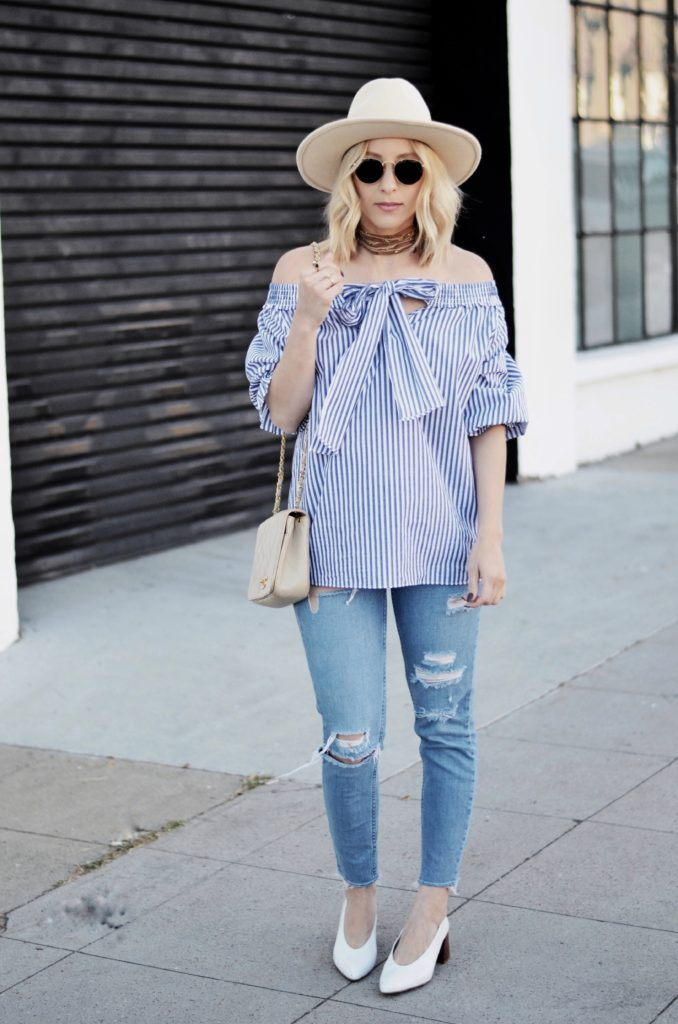 how to wear off the shoulder top