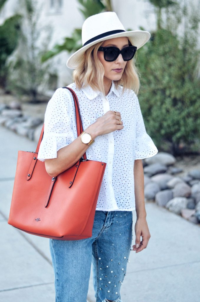 Red coach tote bag on sale