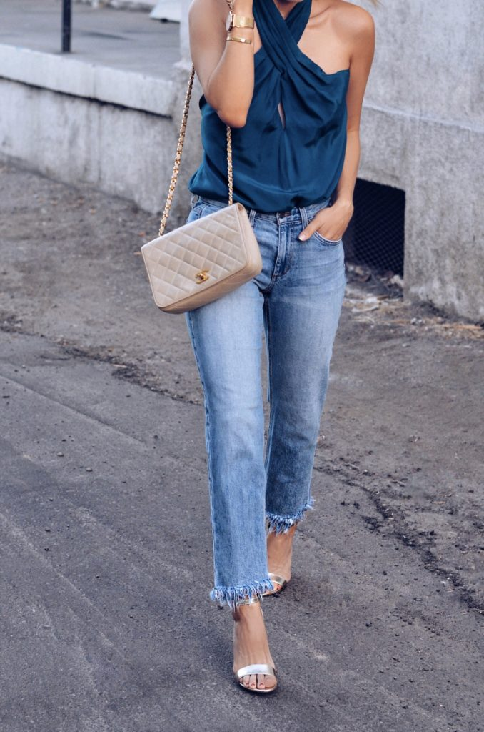 how to style a going out top with jeans